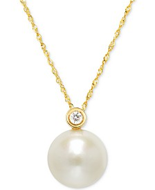 "Cultured Freshwater Pearl (12mm) and Diamond Accent Pendant Necklace in 14k Gold, 16"" + 2"" Extender"