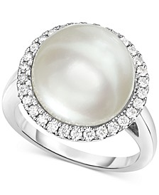 Cultured South Sea Pearl (12mm) and Diamond (1/3 ct. t.w.) Halo Ring in 14k White Gold