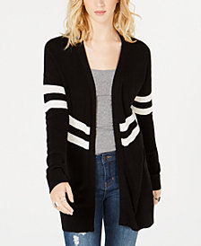 Hippie Rose Juniors' Varsity-Stripe Open-Front Cardigan
