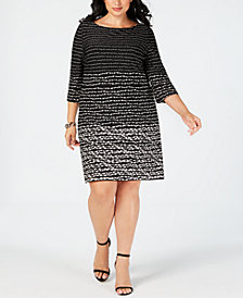 Taylor Plus Size Horizon Stripe Shift Dress