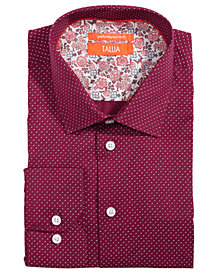 Tallia Men's Slim-Fit Non-Iron Performance Stretch Printed Dotted Micro Check Dress Shirt
