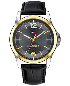 Tommy Hilfiger Women's Black Leather Strap Watch 42mm Created for Macy's