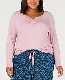 I.N.C. Plus Size Lace-Trim Pajama Top, Created for Macy's