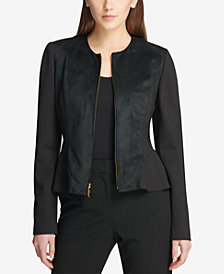 DKNY Faux-Suede Peplum Jacket, Created for Macy's