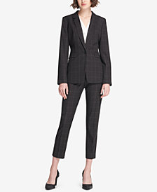 DKNY Windowpane One-Button Jacket & Skinny Ankle Pants, Created for Macy's