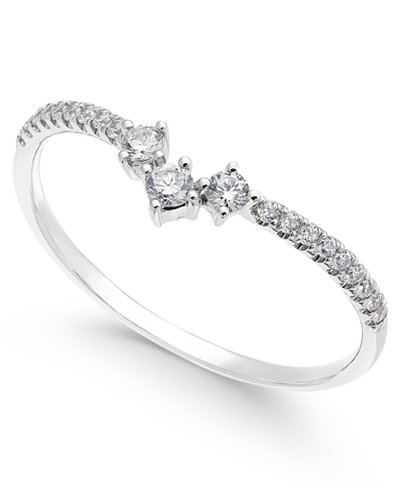 Diamond Curved Band (1/5 ct. t.w.) in 14k White Gold