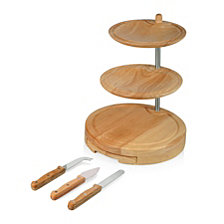 Picnic Time Regalio 3-Tier Serving Tray with Cheese Tools
