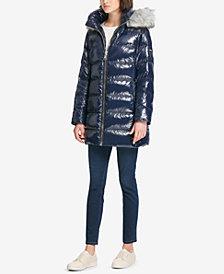 DKNY Faux-Fur-Trim Puffer Coat