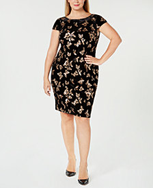 Calvin Klein Plus Size Velvet Cowl-Back Sheath Dress