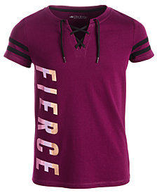 Ideology Big Girls Plus Lace-Up Graphic-Print T-Shirt, Created for Macy's
