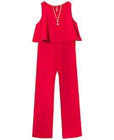 Rare Editions Big Girls 2-Pc. Popover Jumpsuit & Necklace Set