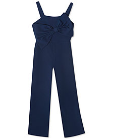 Rare Editions Big Girls Bow-Front Jumpsuit