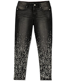 Calvin Klein Big Girls Metallic Splatter-Print Jeans