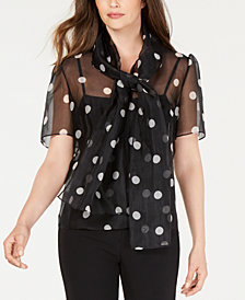 Anne Klein Silk Polka-Dot Blouse