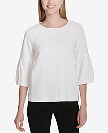 Calvin Klein Textured 3/4-Sleeve Top