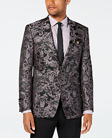 Tallia Men's Slim-Fit Black/Pink Paisley Jacquard Sport Coat