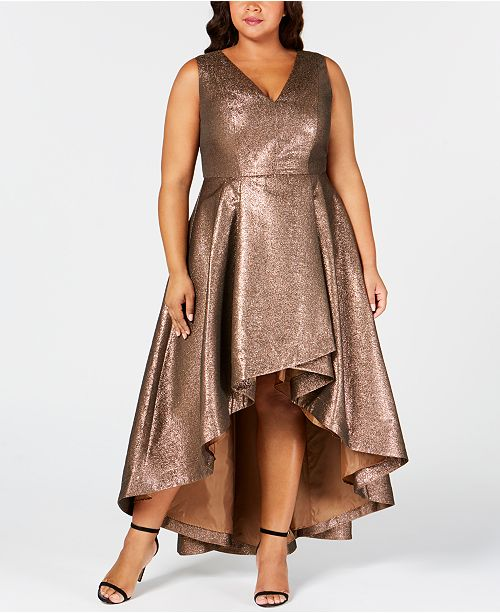 ee9b015d35d9 Calvin Klein Plus Size Metallic High-Low Gown   Reviews - Dresses ...