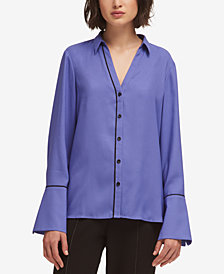 DKNY Bell-Sleeve Piped-Trim Blouse, Created for Macy's