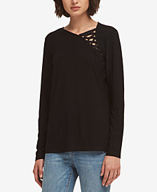 DKNY Lace-Up Top, Created for Macy's