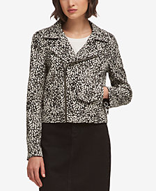 DKNY Printed Moto Jacket, Created for Macy's