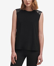 Faux-Leather-Trim Top