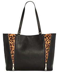 I.N.C. Averry Side Zip Leopard Tote, Created for Macy's