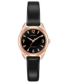 Citizen Drive from Citizen Eco-Drive Women's Black Patent Vegan Leather Strap Watch 27mm