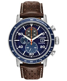 Citizen Eco-Drive Men's Chronograph Brycen Chestnut Brown Leather Strap Watch 44mm