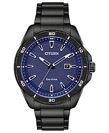 Citizen Drive From Citizen Eco-Drive Men's Black Stainless Steel Bracelet Watch 45mm