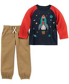 Kids Headquarters Toddler Boys 2-Pc. Spaceship Shirt & Jogger Pants Set