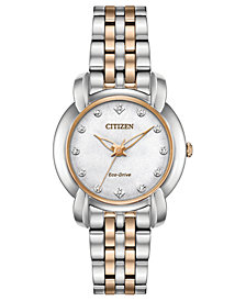 Citizen Eco-Drive Women's Jolie Diamond-Accent Two-Tone Stainless Steel Bracelet Watch 30mm