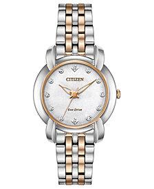 Citizen Eco-Drive Women's Jolie Diamond-Accent Two-Tone Stainless Steel Bracelet Watch 30mm