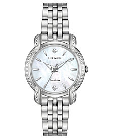 Citizen Eco-Drive Women's Jolie Diamond-Accent Stainless Steel Bracelet Watch 30mm