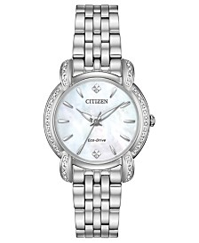 Citizen Eco-Drive Women's Jolie Diamond-Accent Stainless Steel Bracelet Watch 30mm
