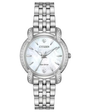 CITIZEN Eco-Drive Women'S Jolie Diamond-Accent Stainless Steel Bracelet Watch 30Mm in White/Silver