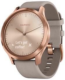 Garmin Unisex vívomove HR Premium Gray Suede & Silicone Strap Hybrid Touchscreen Smart Watch 43mm