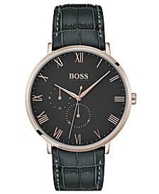 Hugo Boss Men's William Ultra Slim Gray Leather Strap Watch 40mm