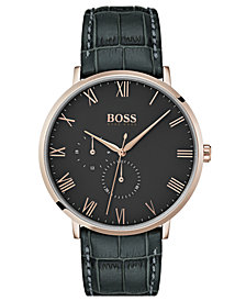 BOSS Hugo Boss Men's William Ultra Slim Gray Leather Strap Watch 40mm
