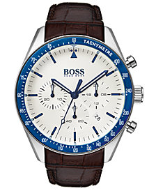 BOSS Hugo Boss Men's Chronograph Trophy Brown Leather Strap Watch 44mm