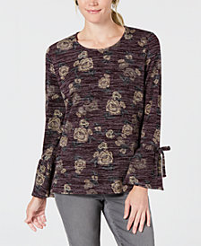 Style & Co Petite Scoop-Neck Lantern-Tie Long Sleeve Top, Created for Macy's