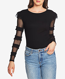 1.STATE Ruffled Sheer-Sleeve Top