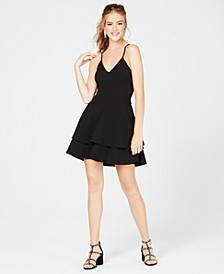 Juniors' Lace-Back Fit & Flare Dress