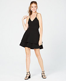 B Darlin Juniors' Lace-Back Fit & Flare Dress