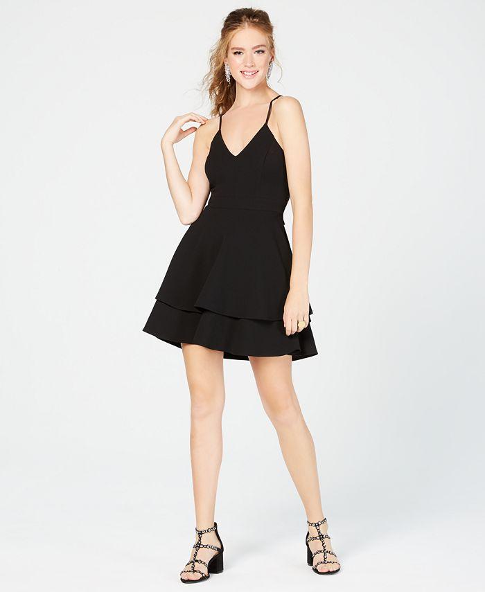 B Darlin - Juniors' Lace-Back Fit & Flare Dress