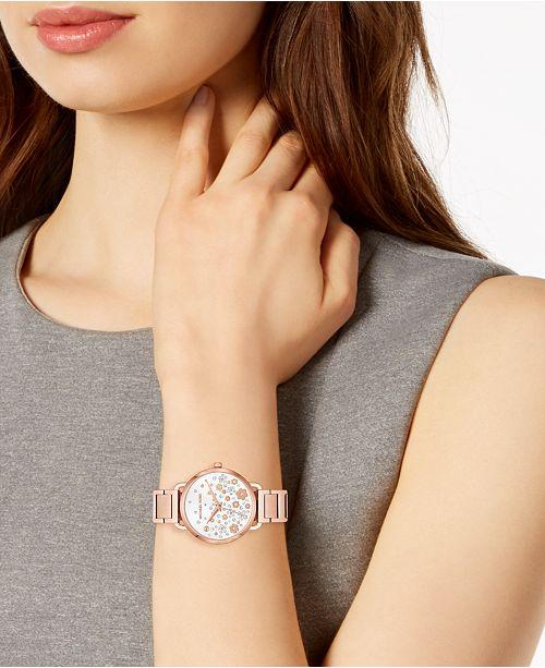 b50c0681c8f2 Michael Kors Women s Mini Portia Rose Gold-Tone Stainless Steel Bracelet  Watch ...