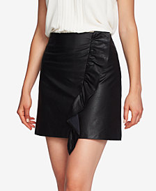 1.STATE Ruffled Faux-Leather Mini Skirt