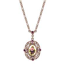 2028 Rose Gold-Tone Purple Crystal Flower Pendant Necklace 28""