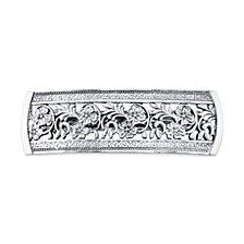 2028 Silver-Tone Flowers Bar Barrette