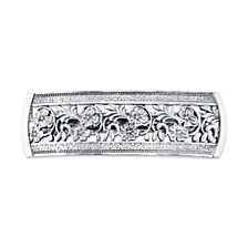 2028 Silver-Tone Flowers Bar Barrette