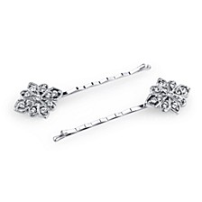 Silver-Tone Crystal Bobby Pin Set